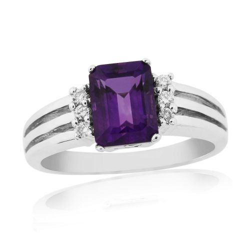 Octaganal Cut Amethyst And Diamond fancy Dress Ring 9 Carat White Gold